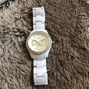 Fossil watch with silver/diamond around circle